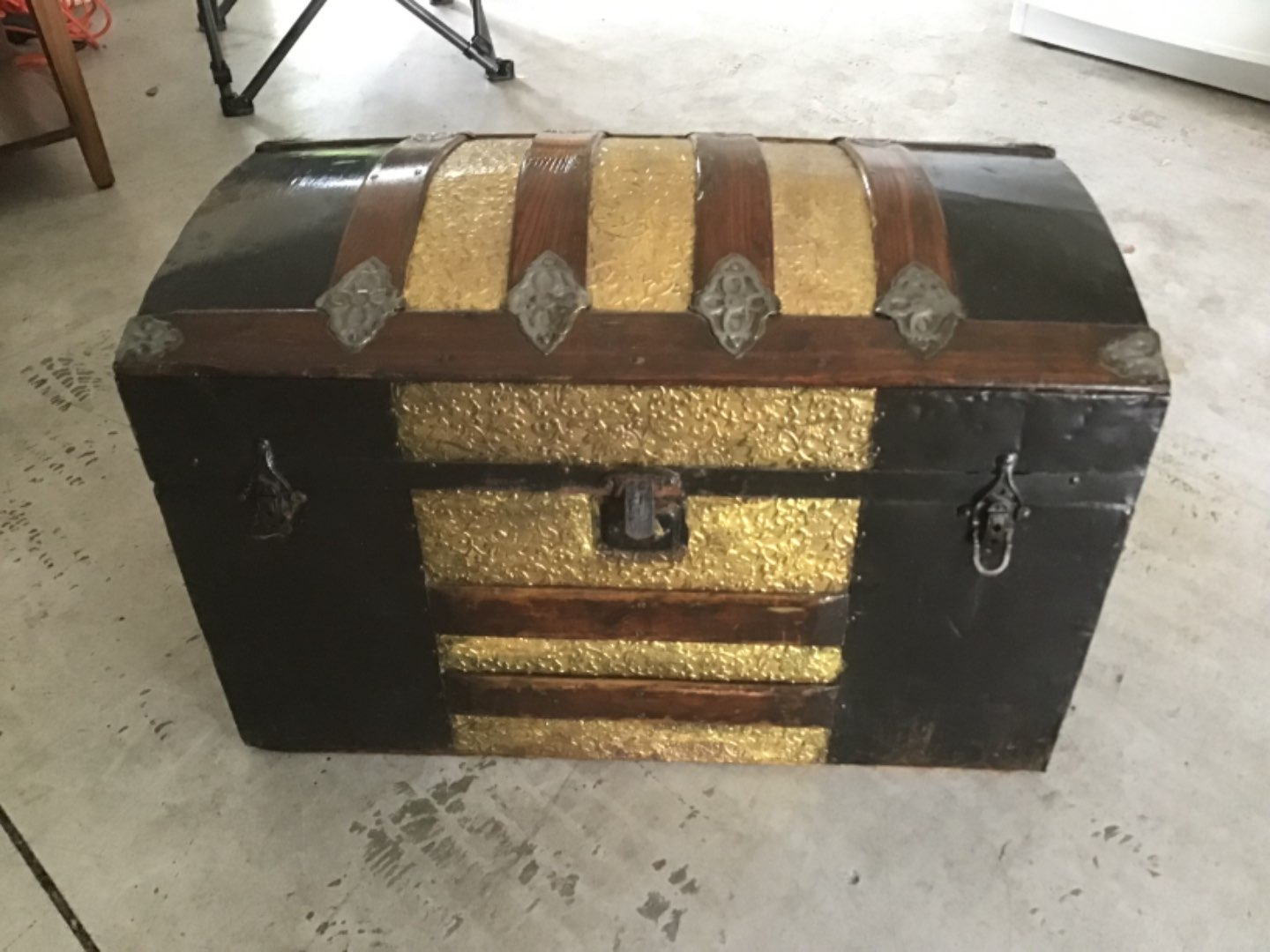 Lot # 376 Beautiful Old Steamer Trunk in VG Condition Overall (missing handles as is typical)