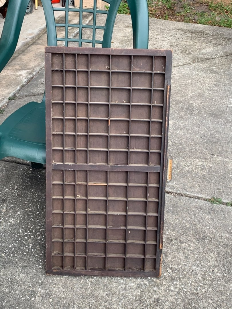 Lot # 379 Antique Solid Print Drawer Tray Ready To Hang.
