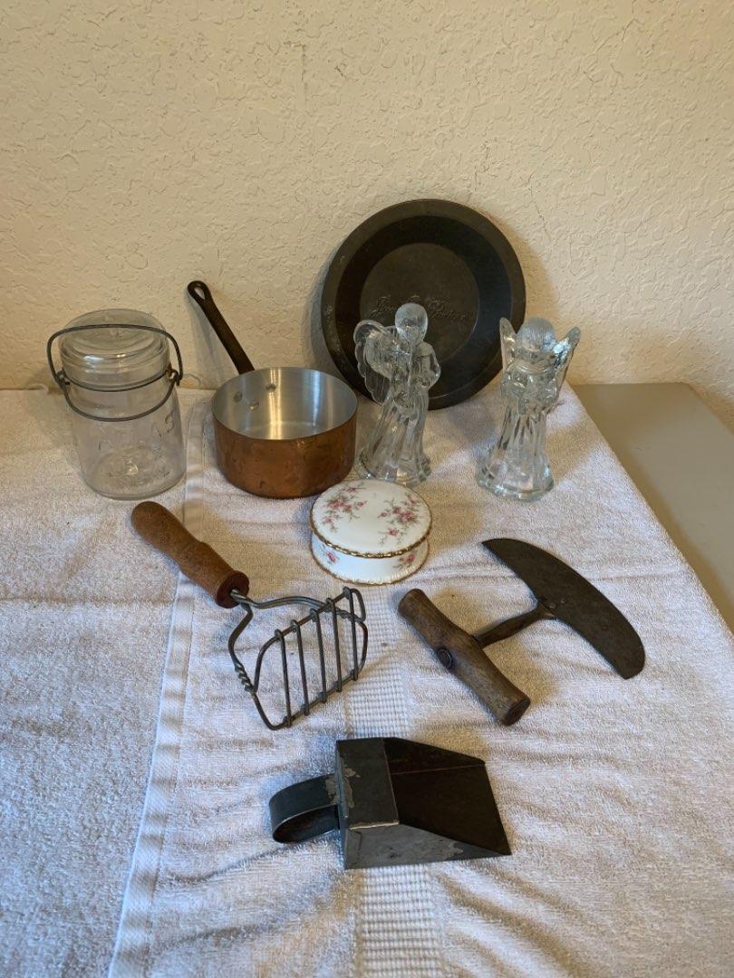 Lot # 381 Vintage Assorted Kitchen lot. Chopper, Angel Candlestick Holders, Copper Pot, Etc..