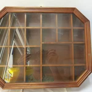 Lot # 82  Wood & glass trinket shadow box/display