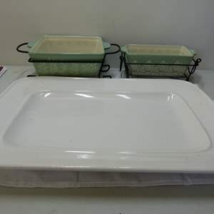 Lot # 123  Grouping porcelain cookware (one does not match the harness)
