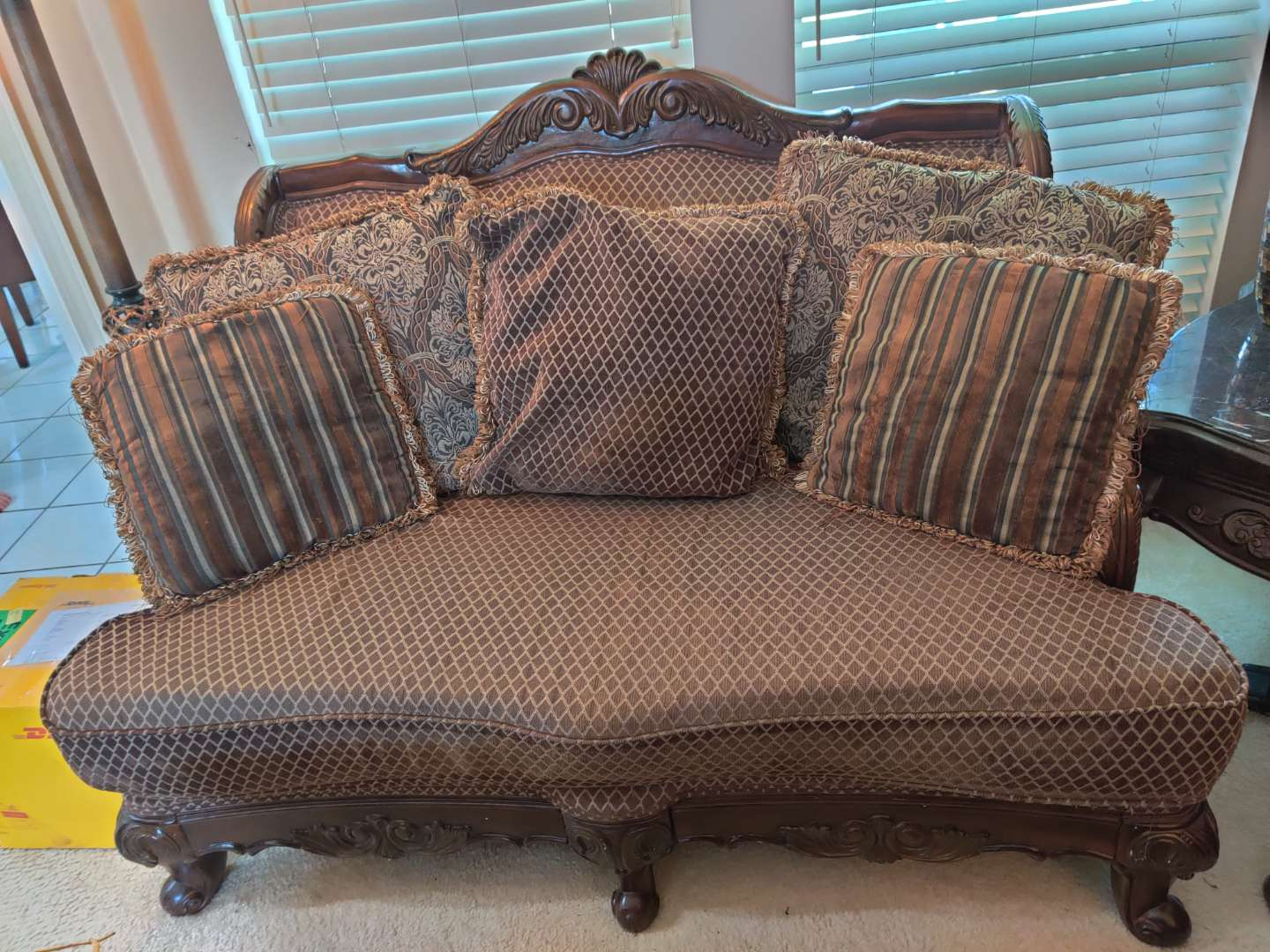 #2 heavly carved wood loveseat with pillows very nice