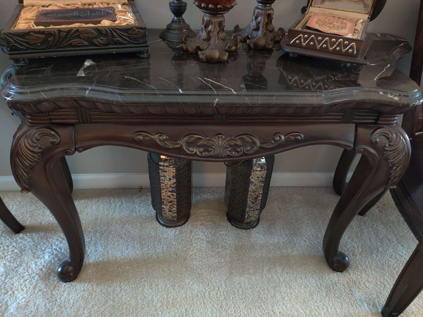 #7. extraordinary carved marble top sofa table 53 in Long 30 in tall excellent condition