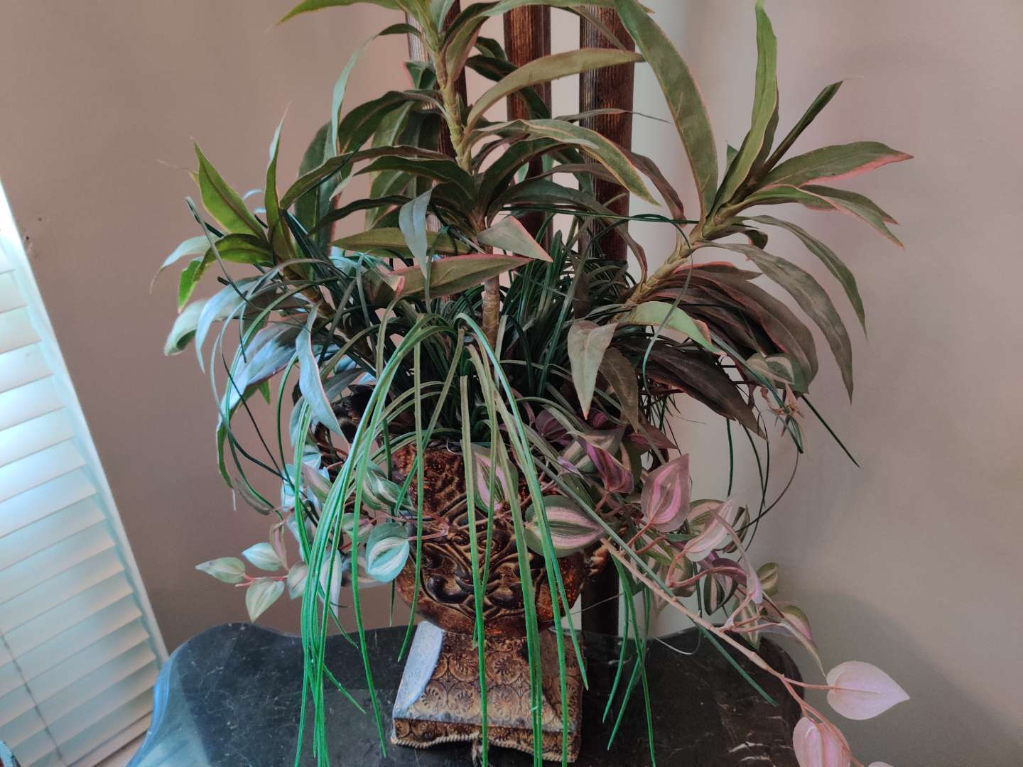 #8 metal urn style vase with greenery 28 in tall overall
