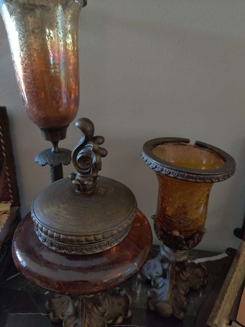 #11  lot of three decorator pieces tallest 22-in candle holder vase and a cover dish