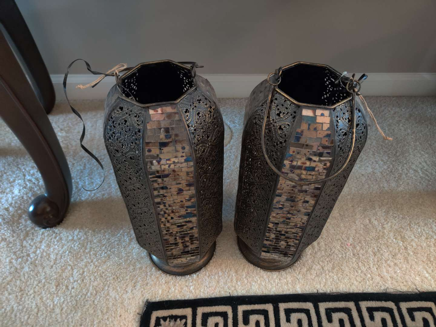 #12 a pair of decorative brass and Mosaic glass 16 inch tall