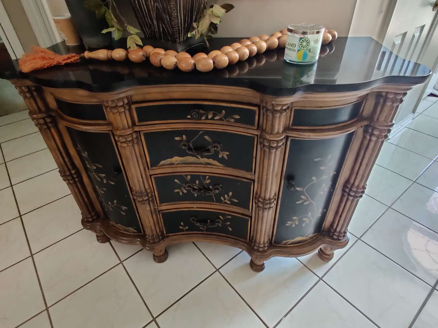 #22 very nice marble top foyer table painted up four drawers two doors 51 inches by 37 tall