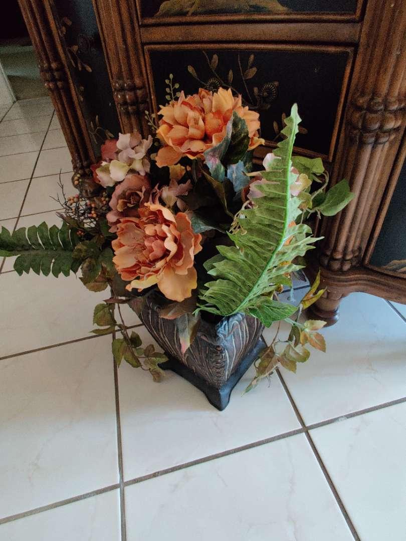 "#23. 22"" inch faux flowers metal base in the foyer"
