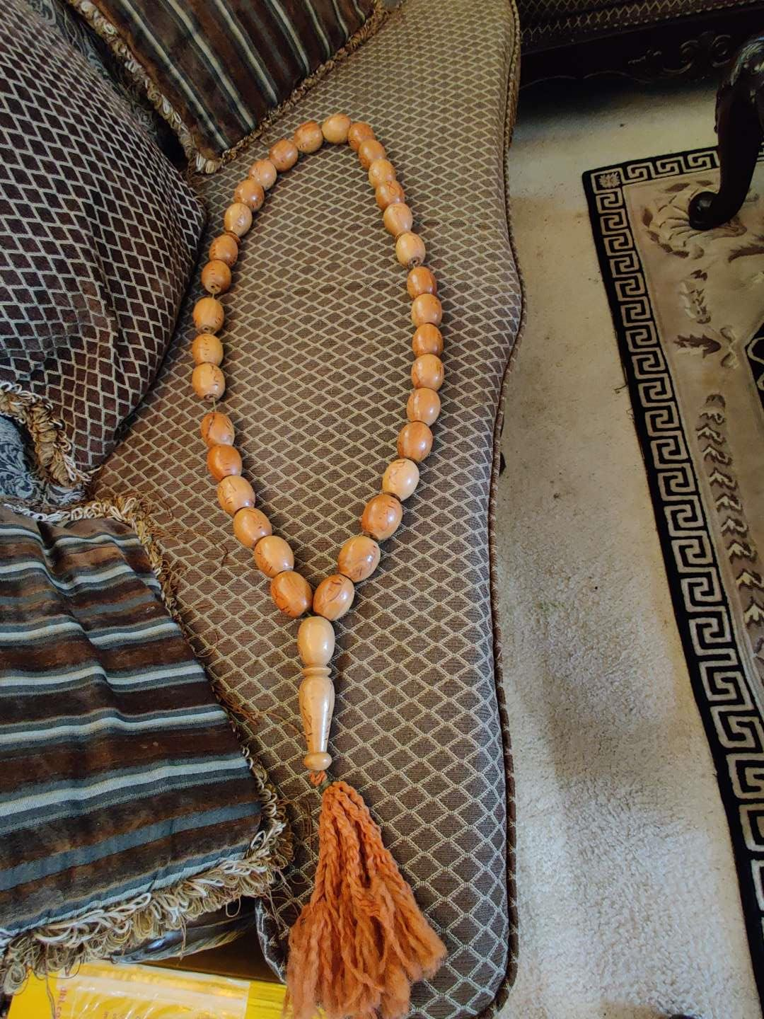 #25 large 48-in wooden Islamic prayer beads with 99 prophets names