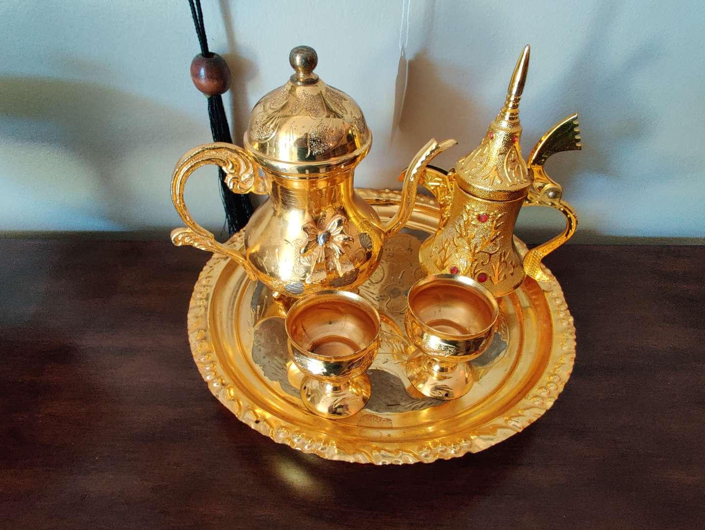 36 five piece tea set metal possibly brass from Bethlehem
