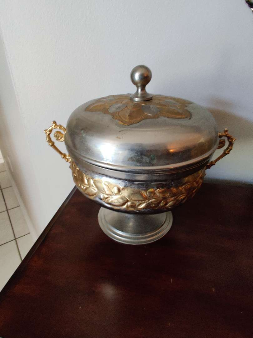 38 very nice metal covered dish for sweets from Bethlehem