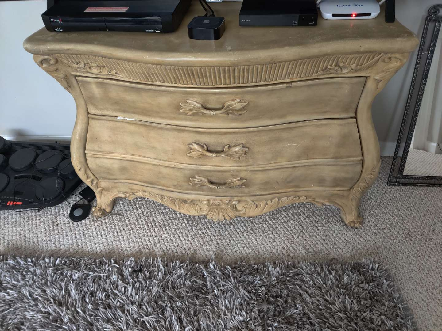 55 Bombay style chest 45 in wide three drawers very nice