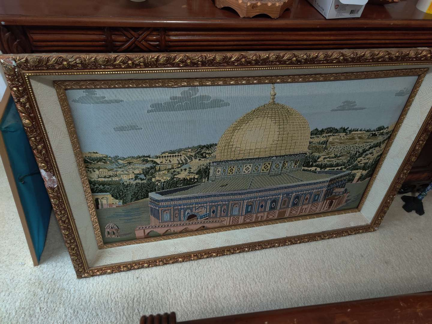 60 Palestine dome of the Rock 51x33 embroidered few bad places on the frame cost $600 new no glass