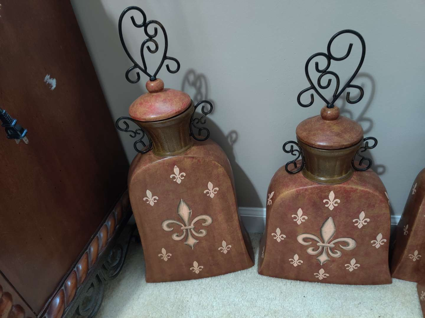 62 set of three metal decorative jars with lids $69 each 24 in tallest