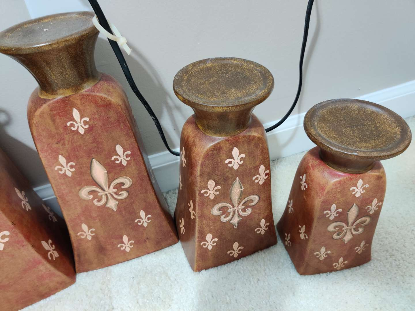 63 set of three candle holders ceramic with metal top tallest is 13 in