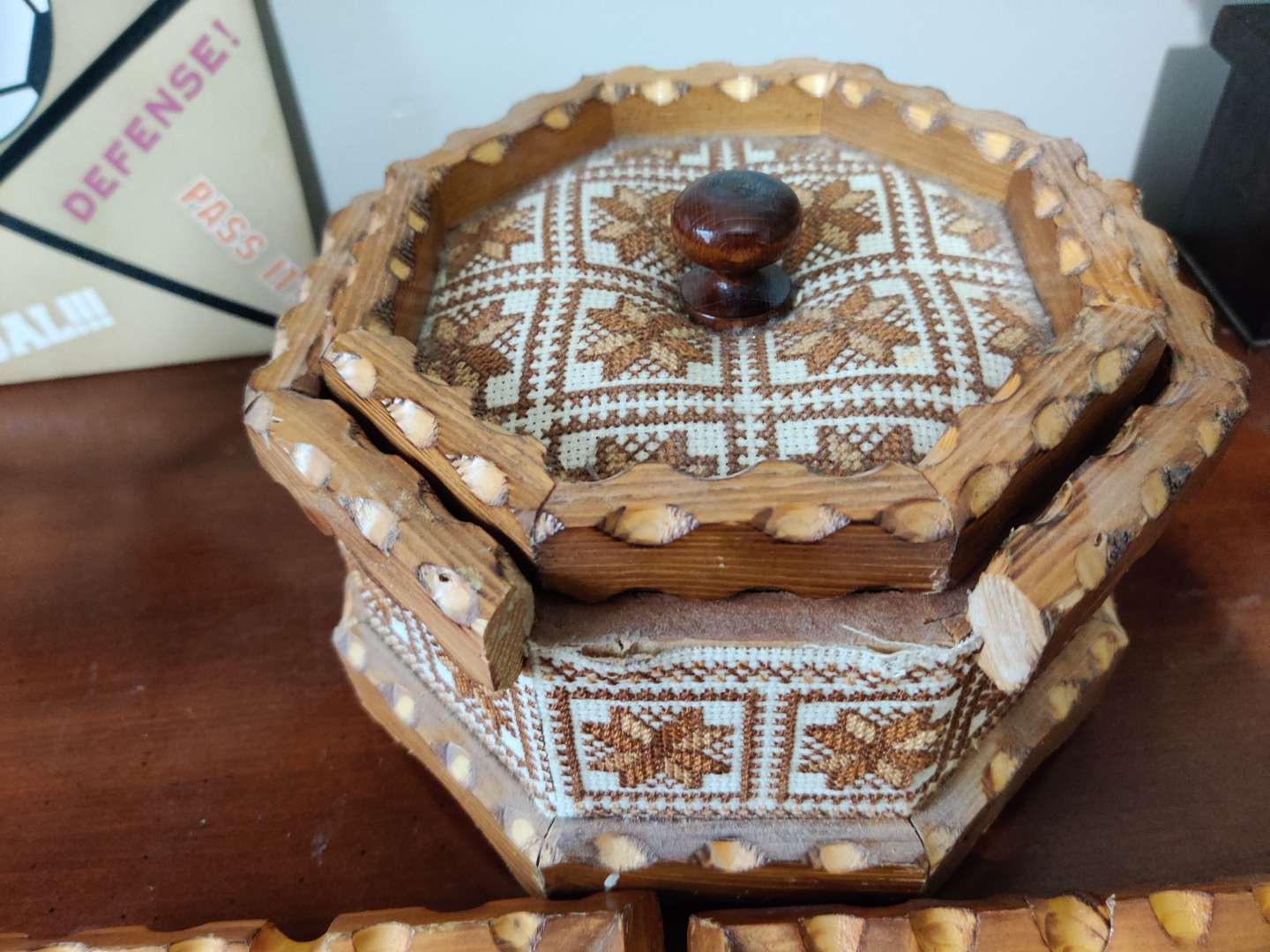 66 two handmade picture frames and one wooden handmade candy dish with lid missing one piece of wood