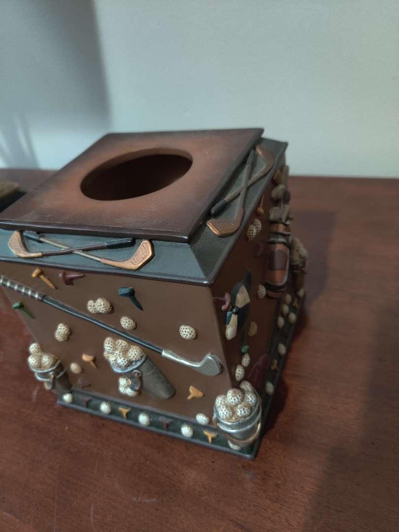 72 decorator tissue box holder golf motif