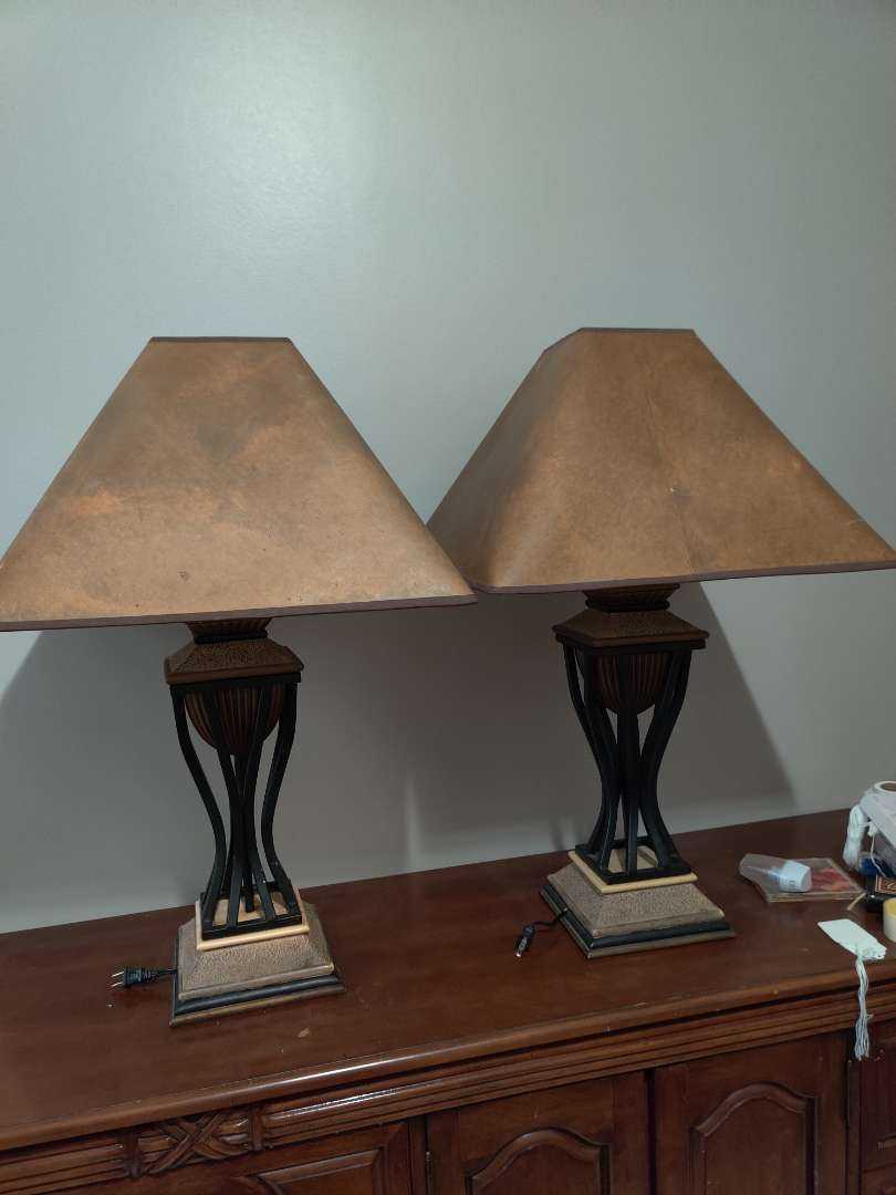 74 very nice pair of 32-in tall decorator lamps metal accent retractable cords