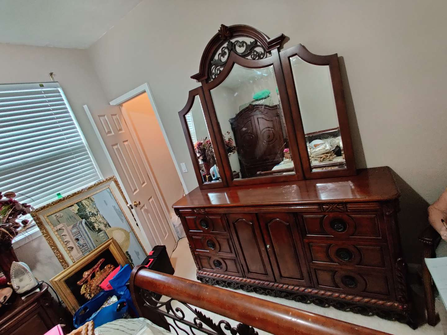 75 very nice Cherry finished dresser and mirror 89 inches wide missing the two knobs on the two doors