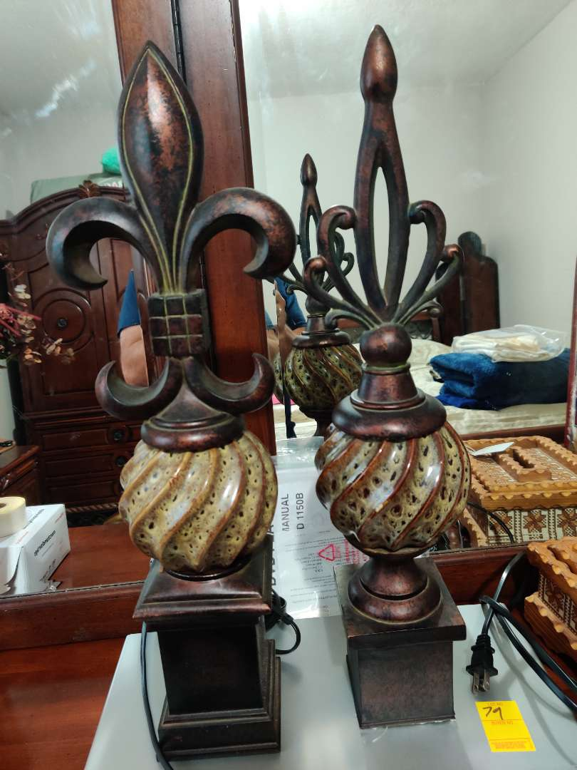 80 two nice decorative items one of them is in great condition and one of them is missing the bottom part see pictures stand abo