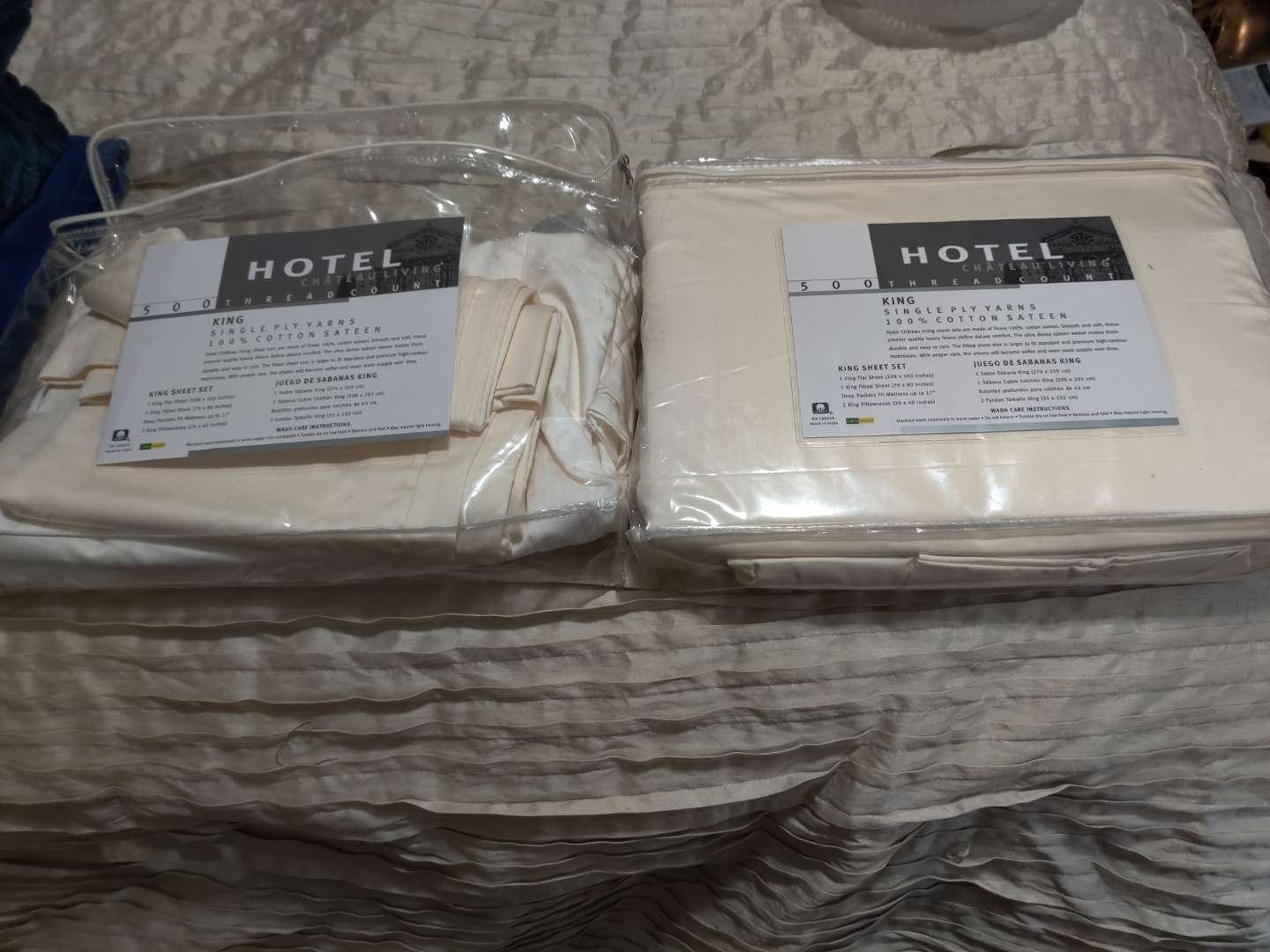 83 new complete king size sheet set and a partial king size set with one sheet and pillow cases
