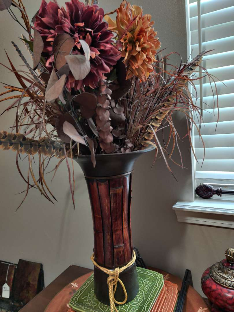 95 floral arrangement in metal base 34 in tall overall