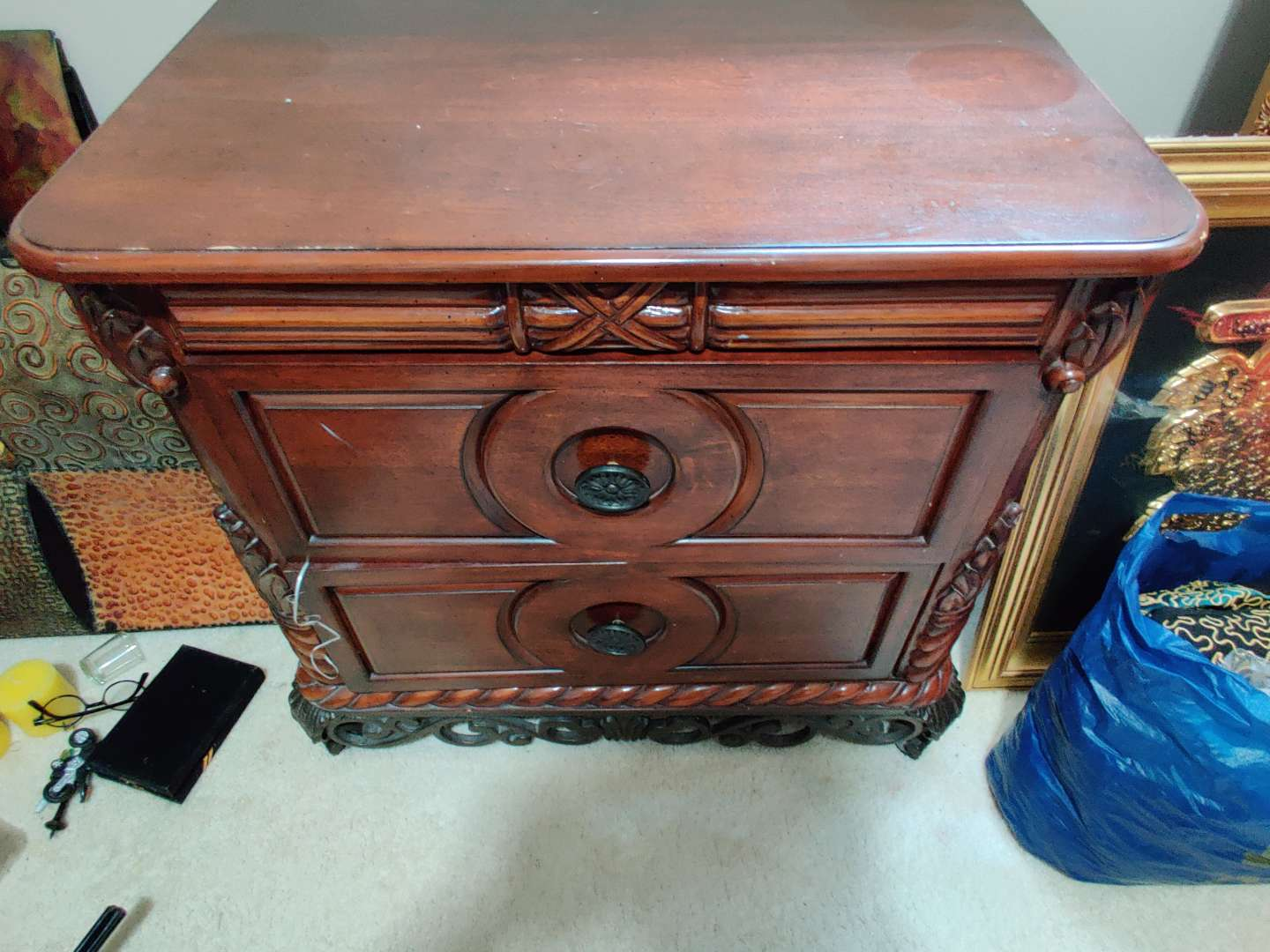 100 two drawer nightstand metal accent and good condition