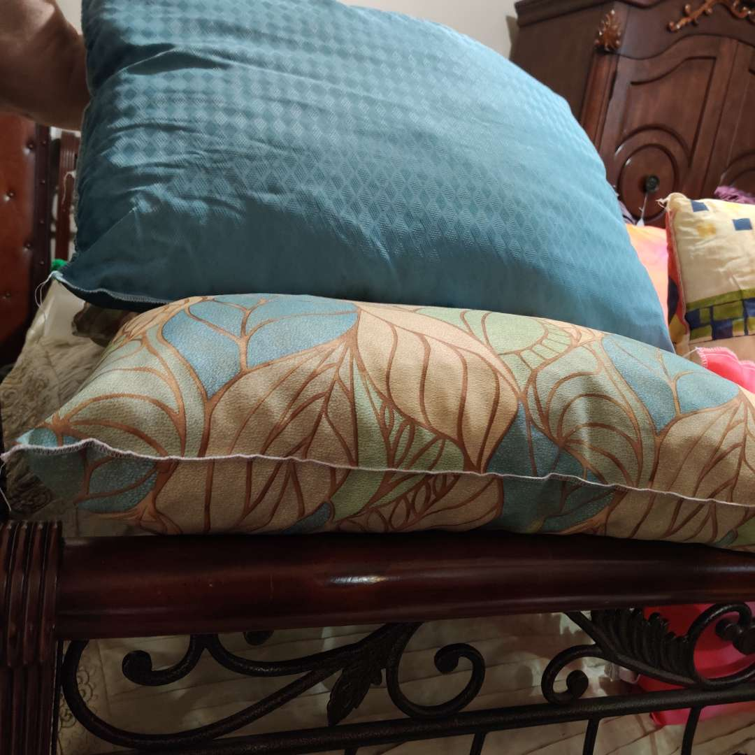 108 three pillows blue and green