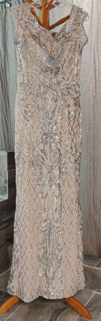 138 Windsor blush and silver sequined dress baby size 10