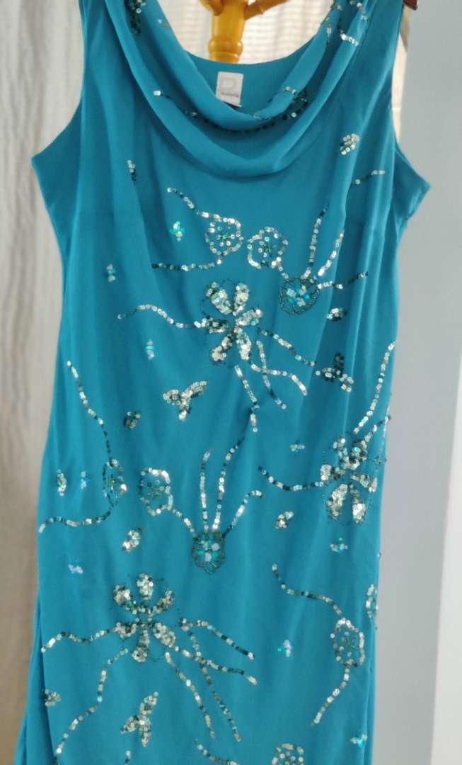 149 romans teal sequin size 26 w dress