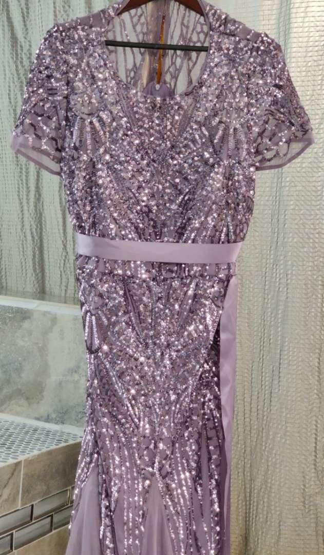 165 r&m Richards Dusty purple with sequin size 18w dress