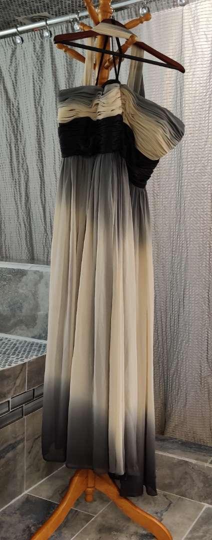 166 aspeed black tan and gray om braced strapless dress XXL