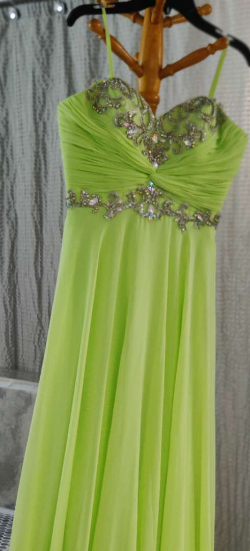 168 cache lime green strapless dress with shrug size 6