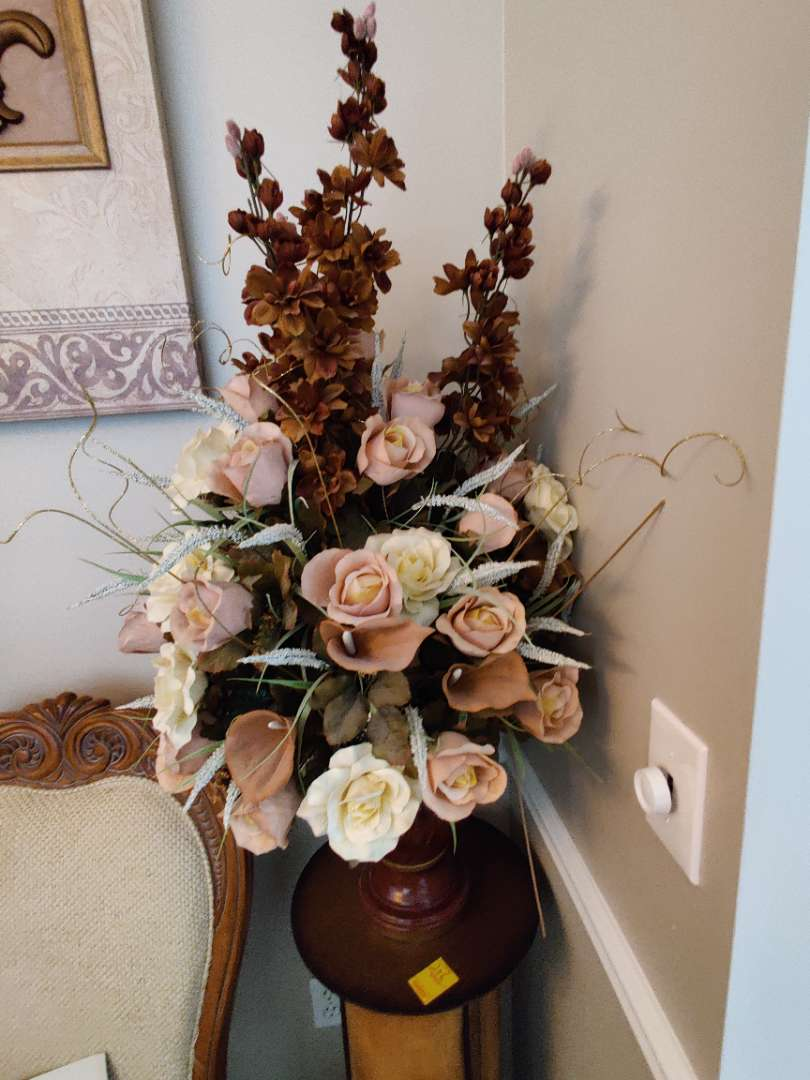 205 faux flowers in a vase 40 inches tall overall