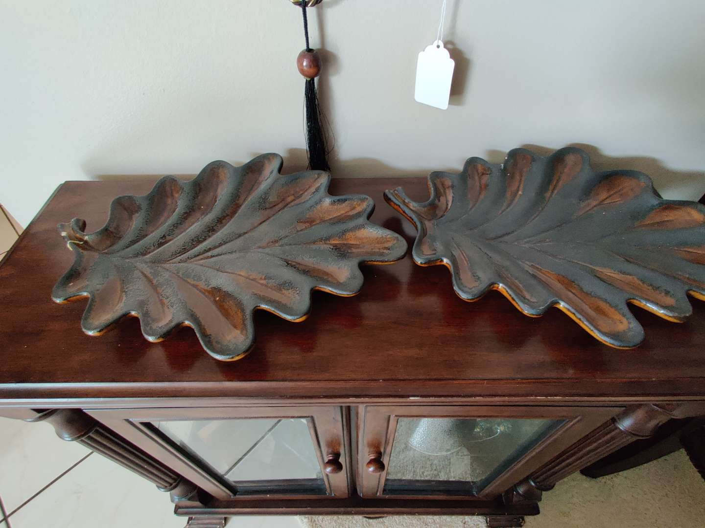 210 pair of leaf dishes 15 in Long $44 each on bottom one has been repaired