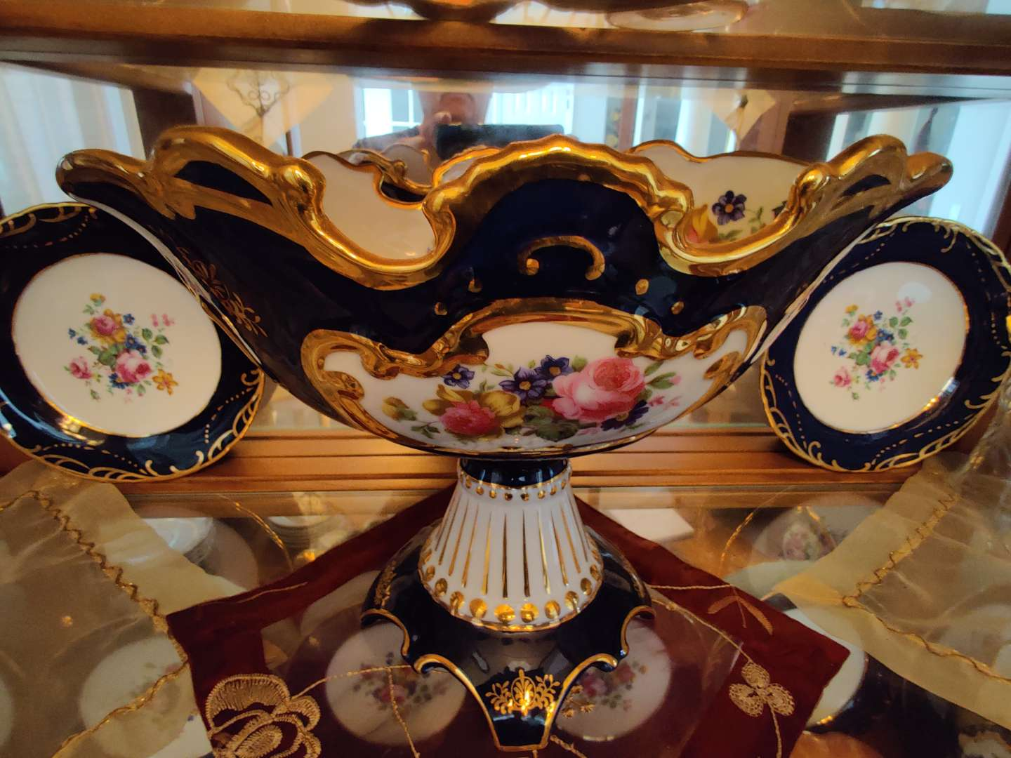 213 very nice blue and gold compote with roses China 9 in tall 12 in wide limoge in great condition