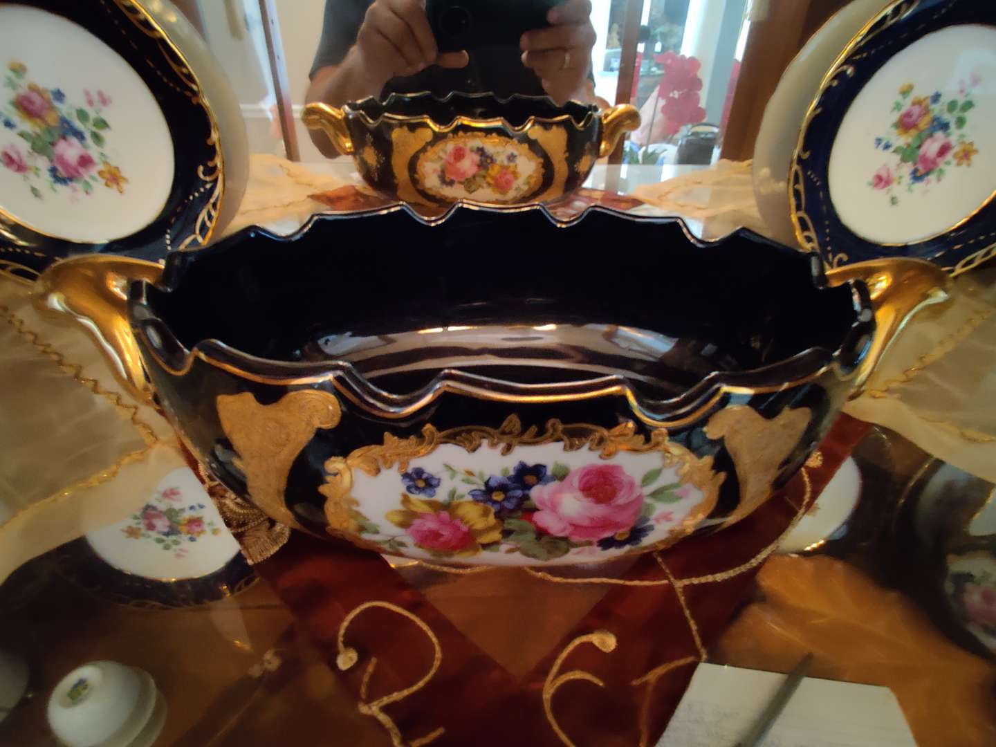 214 very nice blue and gold China limoges bowl 13 inches wide