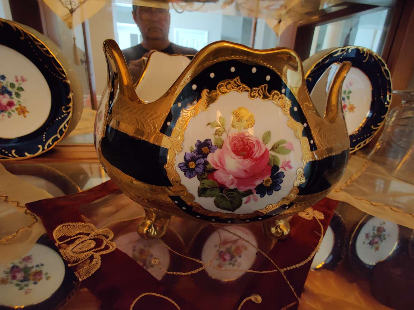 215 Limoges blue and gold bowl with roses 6 in tall 8 in wide