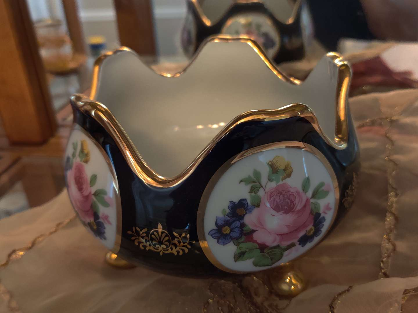 220 limoge footed blue and gold bowl 7 in wide 5 in tall excellent condition