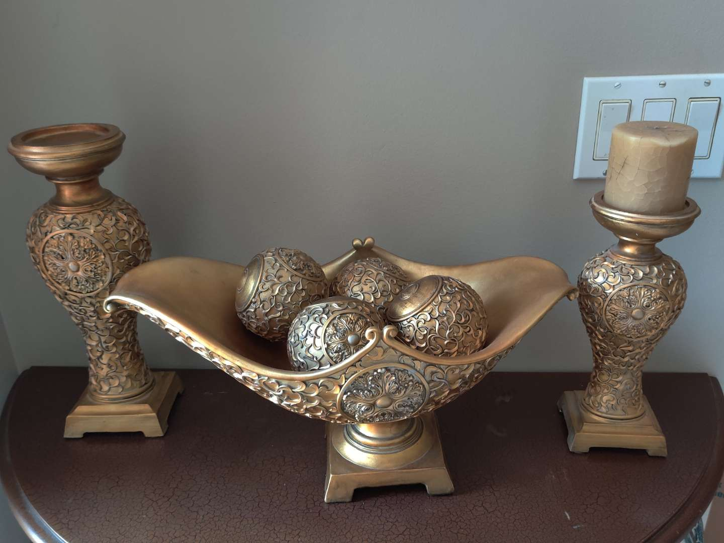 225 three piece composition console set candle holders and bowl