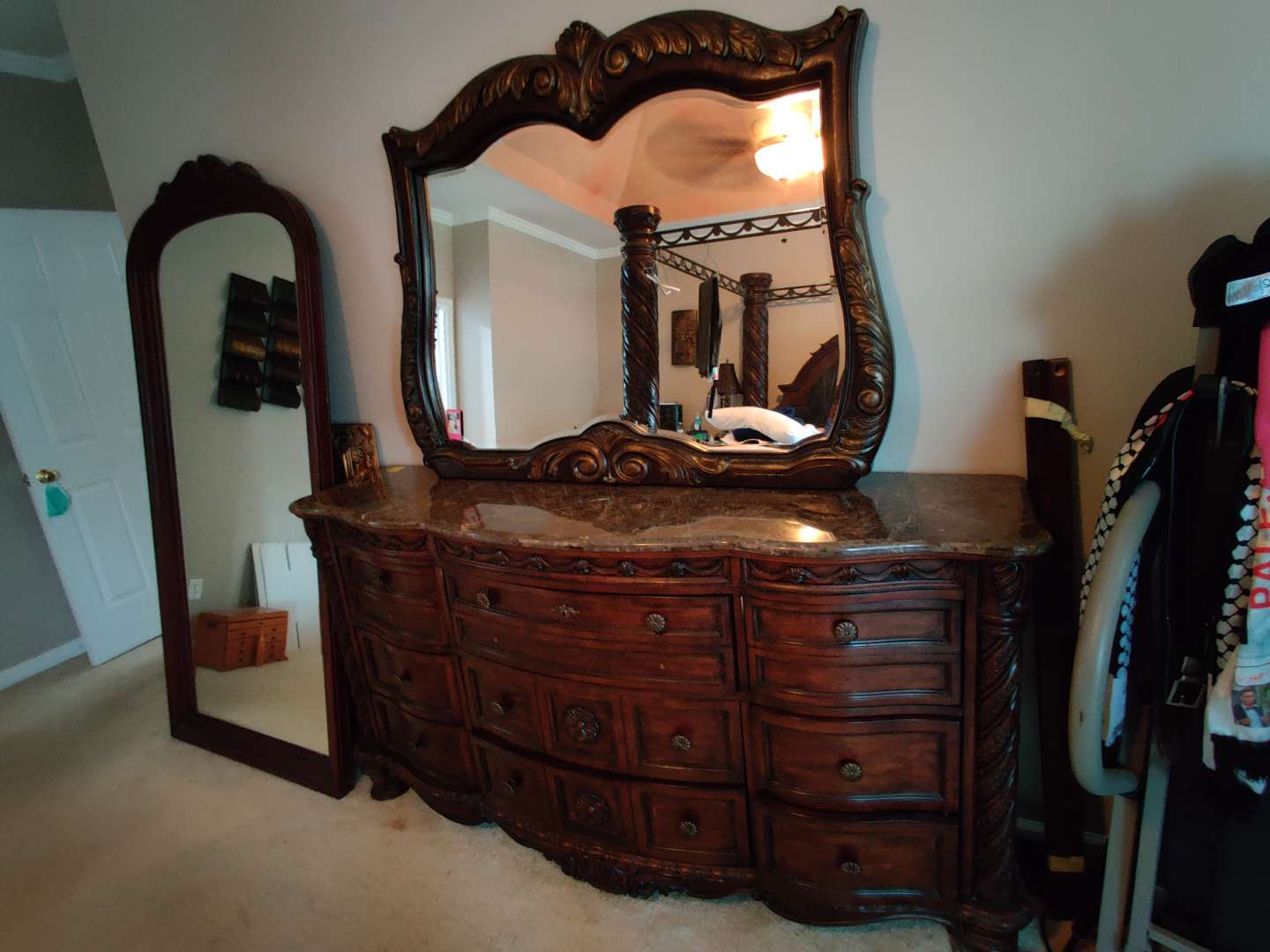 240 large marble top dresser and mirror 72 inches wide 39 inches tall
