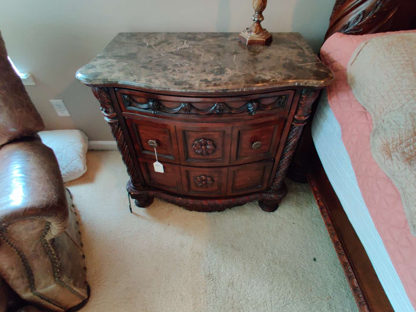 241 marble top night stand 34 in wide 33 in tall missing two knobs