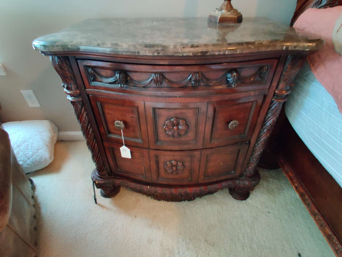 242 marble top night stand 34 in wide 33 in tall missing two knobs