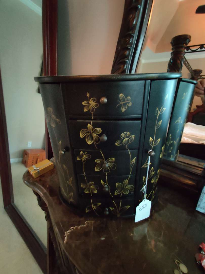 250 very nice black jewelry box 14 in tall 12 inches wide with doors and drawers