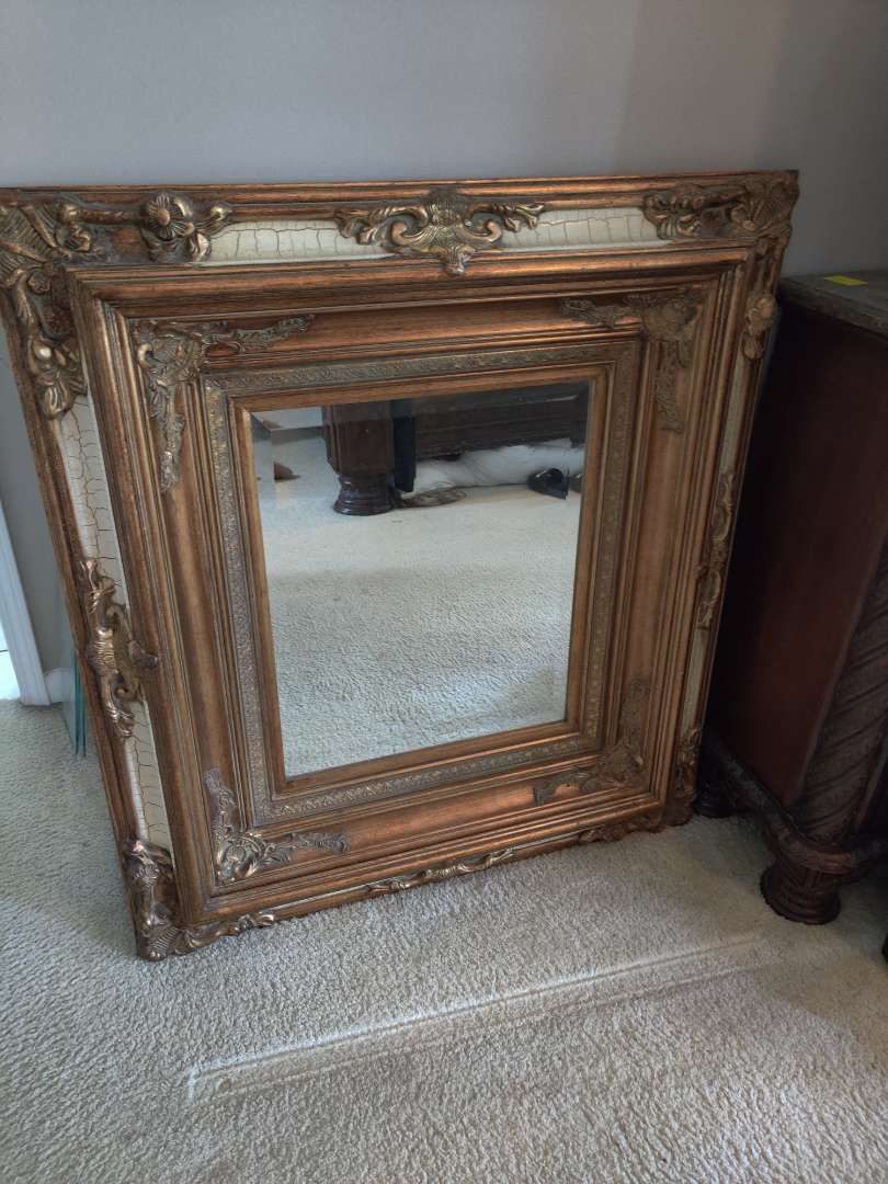 251 exquisite gold mirror with beautiful frame beveled 40 inches by 44 in tall excellent condition