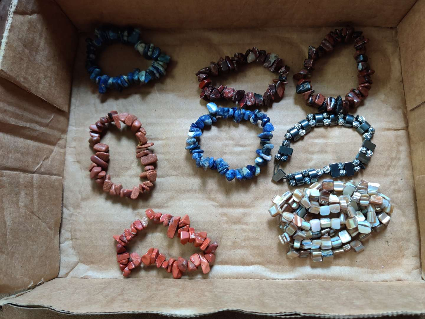 261 lot of eight real Stone bracelets lapis hematite and more