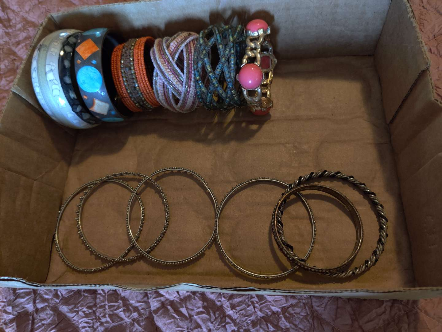 262 lot of 12 miscellaneous costume bracelets metal beaded and more