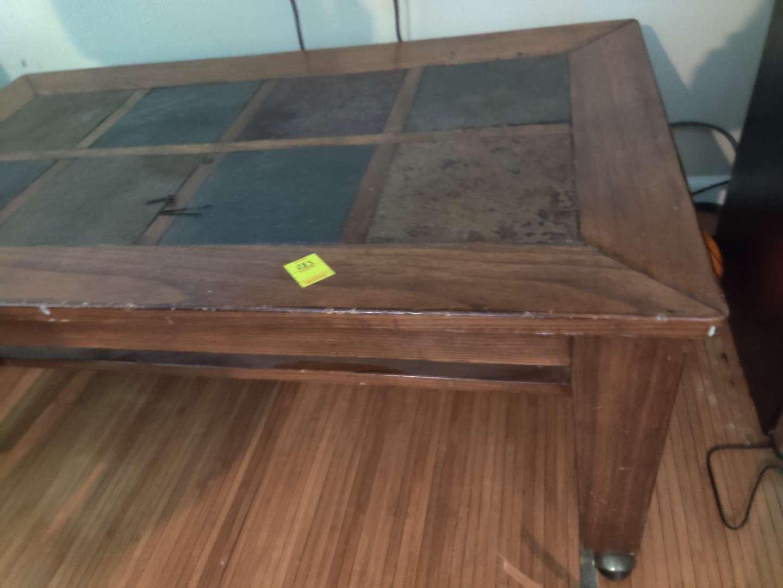 303 coffee table on Wheels slate top