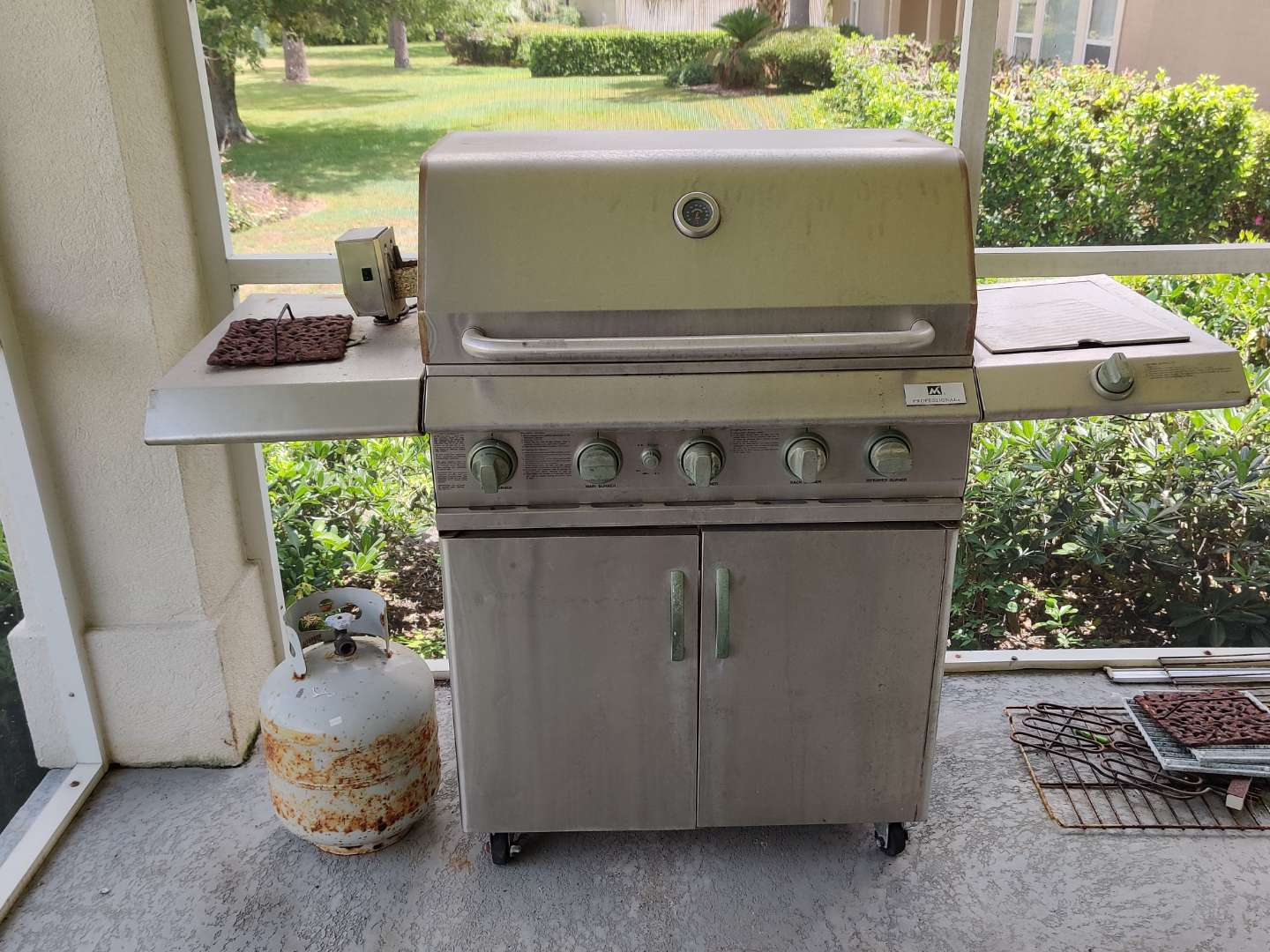 316 gas grill professional brand two side burners