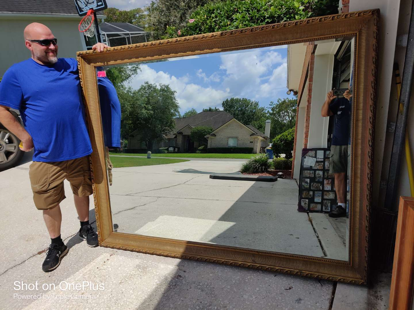 385 extra large gold framed mirror '79 in x 62 1/2 in original price $800